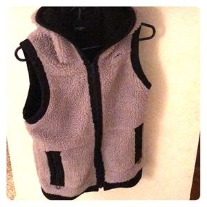 Deep pile fleece hooded vest